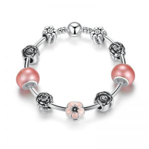 salmon-pink-flower-cluster-bangle