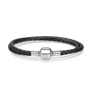 black double woven leather bracelet with barrel clasp
