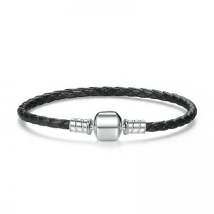 black woven leather bracelet with barrel clasp