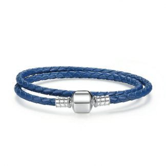 Blue double woven leather bracelet with barrel clasp