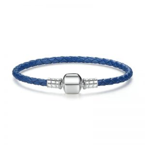 Blue woven leather bracelet with barrel clasp
