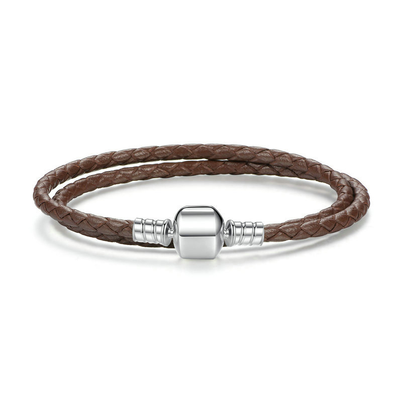 Brown double woven leather bracelet with barrel clasp