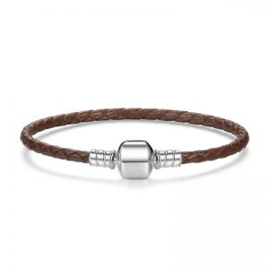 Brown woven leather bracelet with barrel clasp
