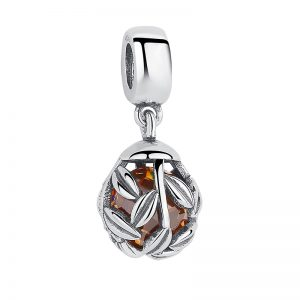 Laurel leaves wrapping a stunning golden colored cubic zirconia bead