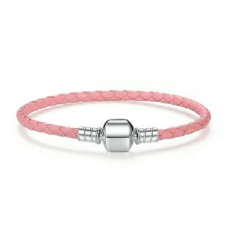 Pink woven leather bracelet with barrel clasp