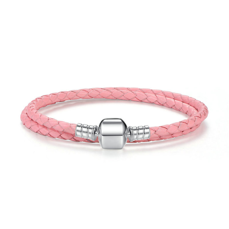 Pink double woven leather bracelet with barrel clasp