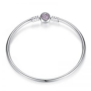 Silver-Bangle-With-Pink-Heart-Clasp