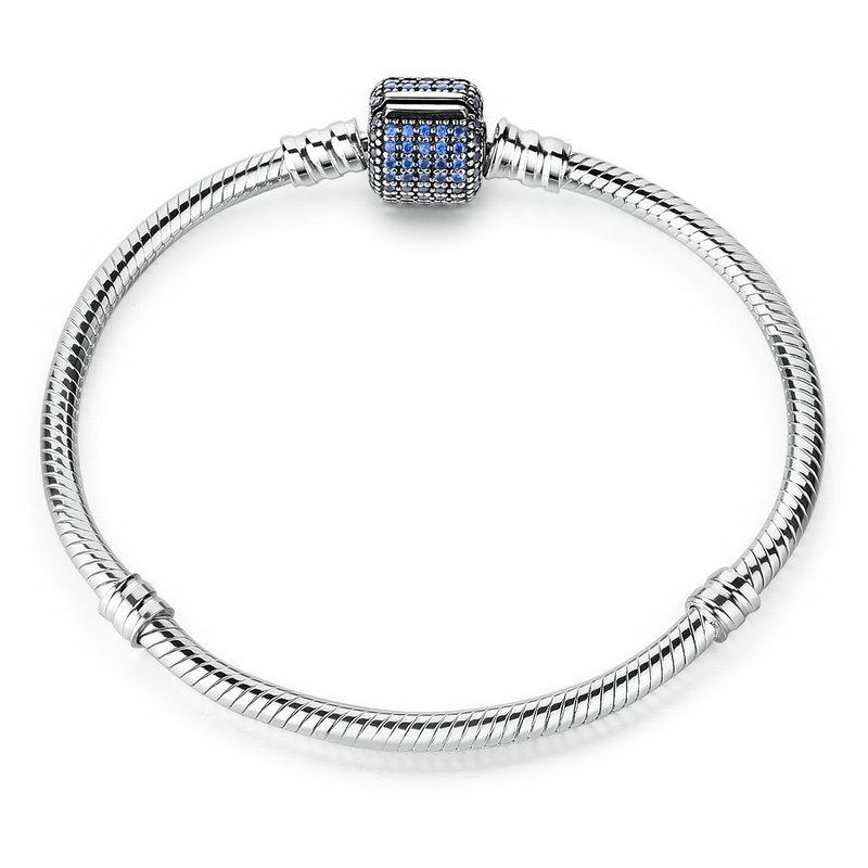 Silver bracelet blue barrel clasp