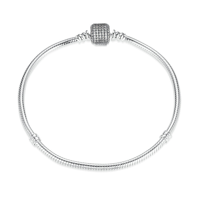 Silver Bracelet With Classic Barrel Clasp