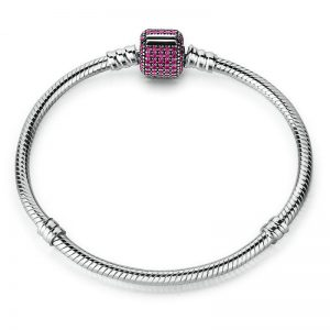 Silver Bracelet Purple Barrel Clasp