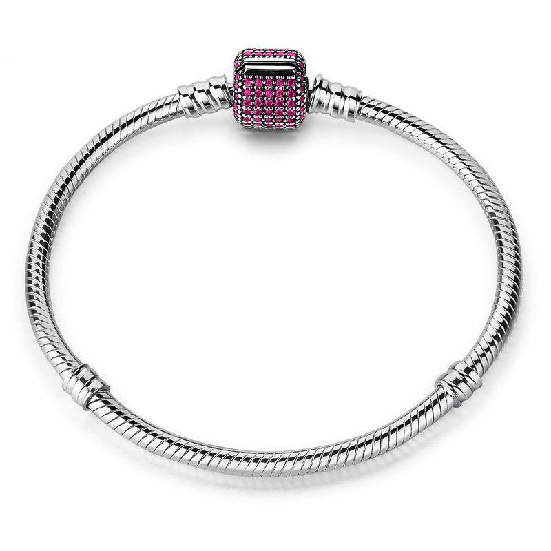 Silver Bracelet Purple Barrel Clasp