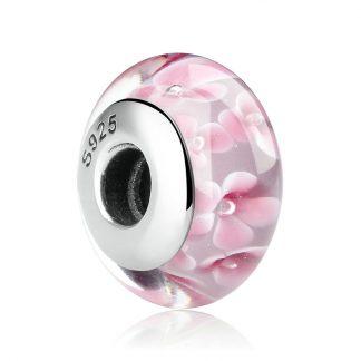 Pink Cherry Blossom Murano Charm