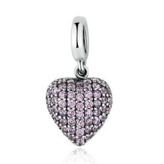 Pink Pavé Heart Pendant Charm