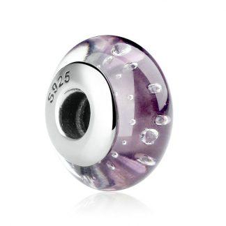 Purple Fizzle Murano Charm