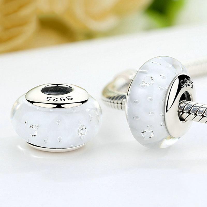 White Fizzle Murano Charm