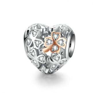 Dazzling Heart Charm with Four-Leaf Clover
