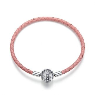 Pink Leather Bracelet With Dazzling Clasp