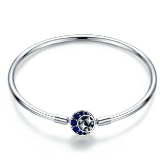 Romantic Moon and Stars Bangle Bracelet