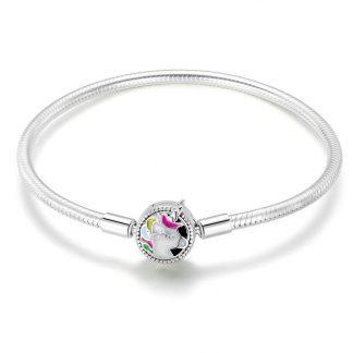 Silver Bracelet with Lovely Enamel Unicorn Clasp